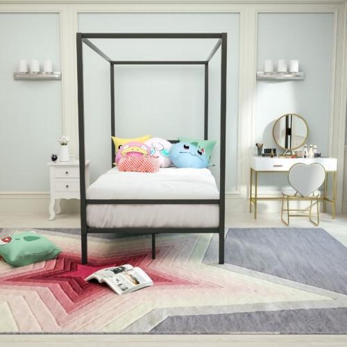 Twin Bed Frame Platform Footboard Bedroom
