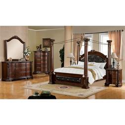 Furniture of America Luxon 4 Piece California King Canopy Be