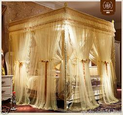 Luxury bed canopy curtain valance double layers stainless st