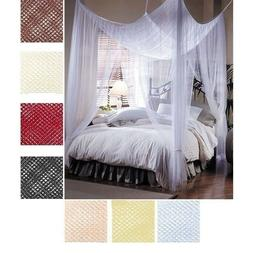 MANY COLORS Four 4 Post Bed Canopy Netting Curtains Sheer Pa