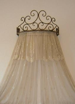 Metal Wall Teester Bed Canopy Drapery Crown Hardware