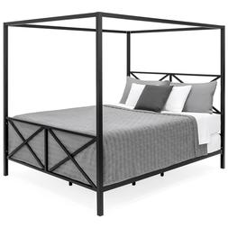 Best Choice Products Modern 4 Post Canopy Queen Bed w/ Metal