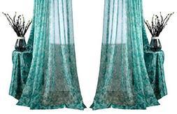 Aside Bside Modern Style Floral Printed Rod Pocket Top Sheer