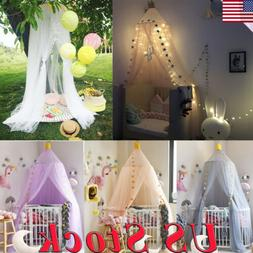 Mosquito Net Bed Canopy Tulle Yarn Tent Bedding Round Dome N