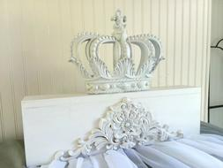 NEW** White Crown Canopy Bed free Drapes Baby Nursery SET  P