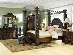 Old World Cherry Brown Bedroom Furniture - 5pcs Set w/ King