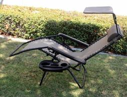 OutDoor Folding Recliner Zero Gravity Lounge Chair w/ Shade