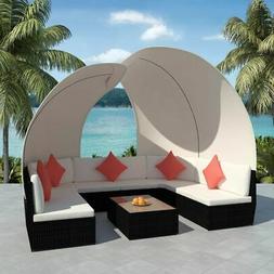 vidaXL Outdoor Lounge Set Canopy 34 Piece Poly Rattan Wicker