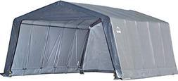 ShelterLogic Peak Style Garage-in-a-Box, Grey, 12 x 20 x 8 f