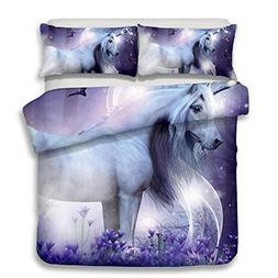 alibalala 100% Polyester Queen Unicorn Print Bedding Cover f