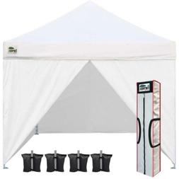 Eurmax Two Sidewalls 10x10 Pop up Canopy, Removable Zipper E