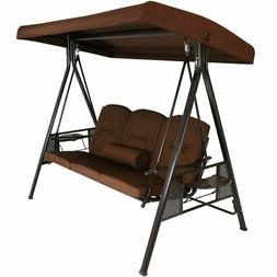 Porch Swing w/Stand Garden Backyard Folding Side Tables Outd