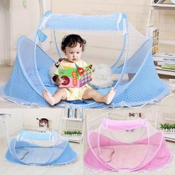 Portable Foldable Baby Kids Infant Bed Dot Zipper Canopy Mos