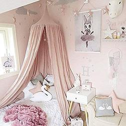 Princess Bed Canopy For Kids Soft Cotton Canvas Coral Pink 1