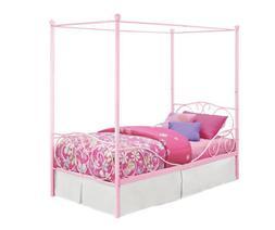 Princess Bed Frame Twin Size Canopy Kids Furniture Pink Meta