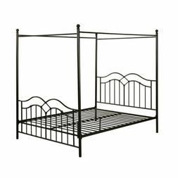 Queen Black Metal Canopy Platform Bed Frame Headboard Footbo
