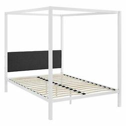 Queen size White Metal Canopy Bed Frame with Grey Fabric Uph