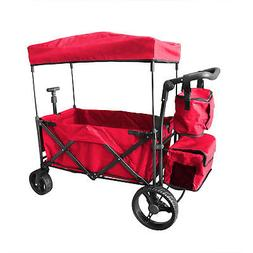 RED OUTDOOR PUSH FOLDABLE WAGON CANOPY UTILITY TRAVEL CART W