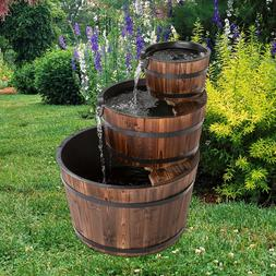 Rustic 3-Tier Wood Barrel Water Fountain, Outdoor Patio and