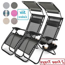 2 Zero Gravity Reclining Chairs Folding Garden Lounge Outdoo