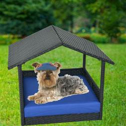 Outdoor Wicker Dog Pet Bed With Shade Roof Canopy Pool Porta