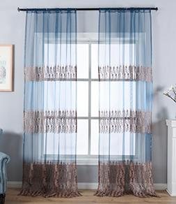 Aside Bside Sheer Window Curtains Feather Print Rod Pocket T