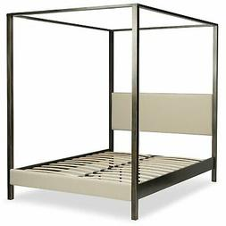 California King size Upholstered Canopy Bed Frame with Wood