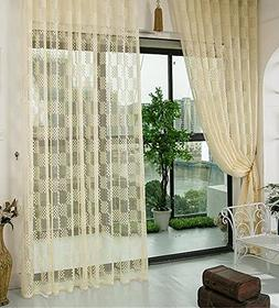Aside Bside Square Pattern Sheer Lace Window Curtains Panels