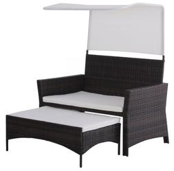 Rattan Wicker Outdoor Sofa Loveseat Sunshade Canopy Ottoman