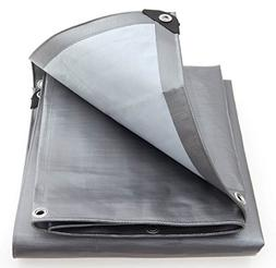 King Canopy Super Heavy Duty Tarp in Silver and White, 20' L