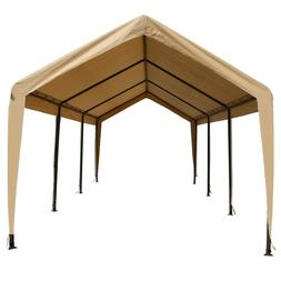Tan Heavy Duty Canopy Tent 10x20 Carport Portable Car Steel