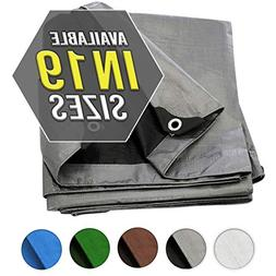 Tarp Cover Silver / Black Heavy Duty Thick Material, Waterpr
