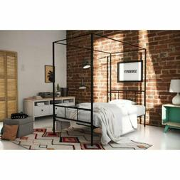 Twin Full Queen King Black Metal Canopy Platform Bed Frame H