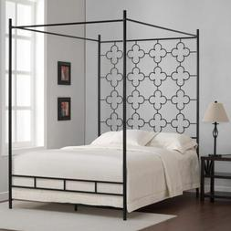 Twin Full Queen King Black Quatrefoil Metal Canopy Bed Frame