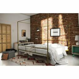 Twin Full Queen King Gold Metal Canopy Platform Bed Frame He