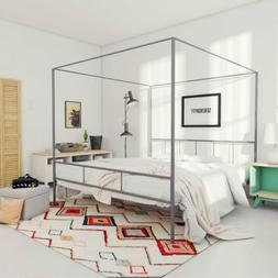 Twin Full Queen King Gray Metal Canopy Platform Bed Frame He
