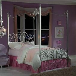 Twin Full Silver Metal Princess Canopy Bed Frame Four Post C