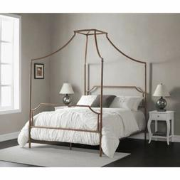 Twin Full Size Brushed Copper Metal Canopy Bed Frame Four Po