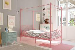 Twin Size Princess Bed Frame Canopy Kids Furniture Pink Meta
