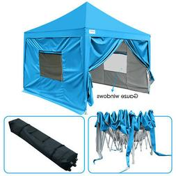 Upgraded Quictent 10x10 Blue Pyramid-roofed EZ Pop Up Canopy