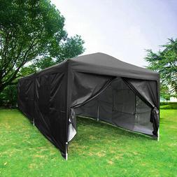 Upgraded Quictent 10x20 EZ Pop up Canopy Tent Black Party Te