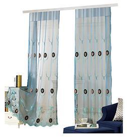 Aside Bside Vines Embroidered Sheer Curtains Velvet Added Ro