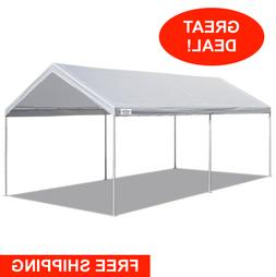 White Heavy Duty Canopy Tent 10 x 20 FT Steel Carport Portab