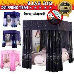 Windproof Lightproof Anti-Glare 4 Corners Bed Curtain Canopy