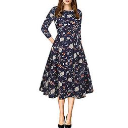 ANJUNIE Women Retro Dress O-Neck Floral Formal Evening Party