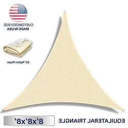 Windscreen4less x 8ft Triangle Sun Shade Sail, Beige Durable