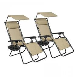 FDW 2 PCS Zero Gravity Chair Lounge Patio Chairs with Canopy