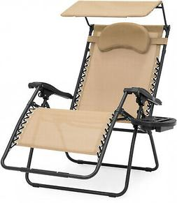 Zero Gravity Chair Oversized Seat with Folding Canopy Shade