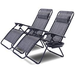 Goplus Zero Gravity Chair Set 2 Pack Adjustable Folding Loun
