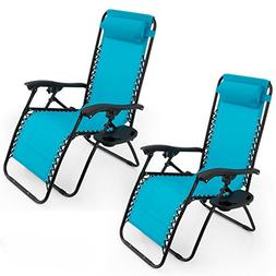 Belleze Sky Blue Zero Gravity Lounge Chair Recliner for Outd